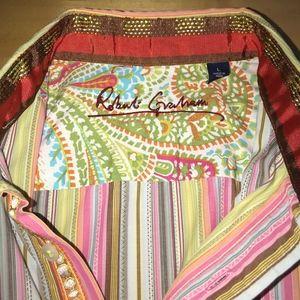 Robert Graham Flip Cuff stripe paisley shirt L